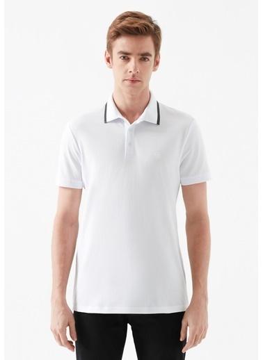 Mavi Deri Detaylı  Polo Tişört Beyaz